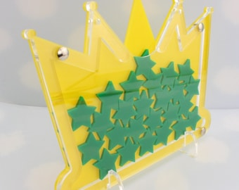 Perspex Acrylic Reward Crown / Bowl with Star Tokens