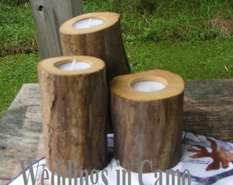 3 RUSTIC wooden candles various heights with tea lights COUNTRY RUSTIC
