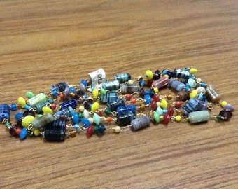 """hippie glass beaded necklace 48 """" NOS"""