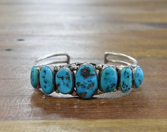 LMB Navajo Sterling Silver and Turquoise Cuff Bracelet