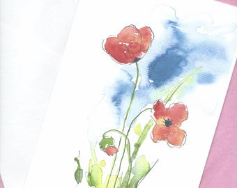 Watercolor Poppy Card, Blank Greeting Card, Floral Watercolor Card, Valentines Card, Birthday Card, Poppy Art Card, Note Card, Flower Card