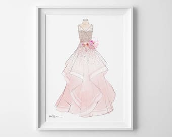 Custom Wedding Dress Illustration, Bridal Dress Illustration, Dress Portrait, Bride Dress Drawing, Wedding Gown Illustration