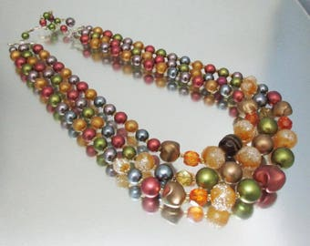 Herbst-Perle Triple-Strang Glas Crystal Kunststoff Japan Halskette