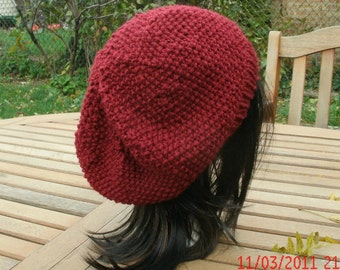 Knit Hat, Hand Knit Hat, Preppie in Cranberry, Slouchy Beanie, Womens Hat, Womens Winter Hat, Red Hat, Red Winter Hat, Knit Slouchy
