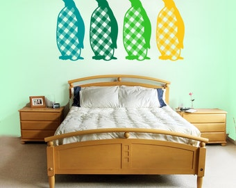 Penguins with flannel bellys wall decal- upto four colors