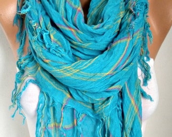 Turquoise Plaid Cotton Scarf, So Soft. Fall, Winter Scarf, Tartan, Shawl, Cowl Gift Ideas For Her Women Fashion Accessories,Women Scarves