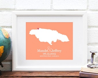 Jamaica Map, Jamaican Island Map Wedding Gift, Personalized Map Design Jamaica Wedding Art Personalized Honeymoon Destination Anniversary