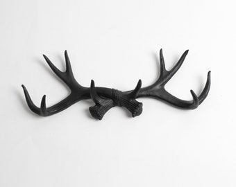 Faux Deer Antlers Rack in Black- Deer Antler Decor Wall Hook & Jewelry Organizer Holder - Rustic Resin Decor by White Faux Taxidermy Hanging