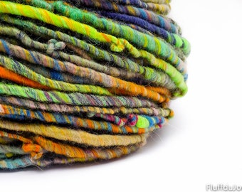 Handspun yarn / hand painted merino wool / aran to bulky weight yarn / multi color slubby corespun single