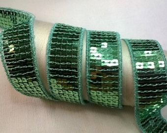 Ribbon SEQUIN GLITTER color lagoon width 2.2 cm by 50 cm