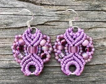 SALE Micro-Macrame Earrings - Orchid