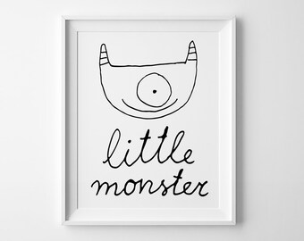 Kids room decor, nursery decor, wall art print, black and white art, affiche scandinave, Little monster, nursery wall art, kids print