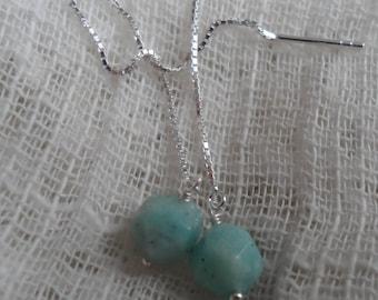 Sterling Silver Amazonite Threader Earrings