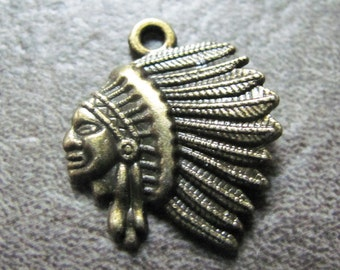20mm Antique Brass Indian Chief Head Charms - 30pcs