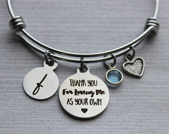 Thank-You For Loving Me As Your Own Bracelet, Adoption Gifts, Foster Mom Gifts, Stepmom Gifts, Adoption Jewelry, Adoption Bracelet, Adoption