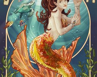 Boynton Beach, Florida - Mermaid (Art Prints available in multiple sizes)