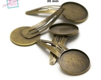 4 Bobby pins hair medium cabochon 30 mm, 4214