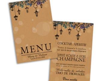 wedding menu cards 10 x lanterns