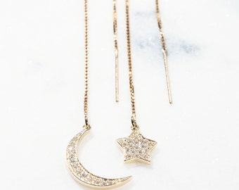 Hoku'ukali threader earrings - Gold Ear Thread Earring, Moon Star Earring, Space Jewelry, Gold Star Earring, Ear Thread, Gold Boho Earring