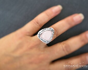 Rose Quartz adjustable statement ring, love stone, boho chic style, clay gemstones, pink jewelry, wearable art, artistic gift for her