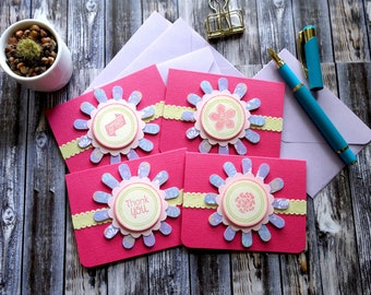 Flower Mini Cards / Thank you Cards / Note Cards / 3x4 cards / Set of 4 / Blank Cards / Scrapbooking / Gift Card