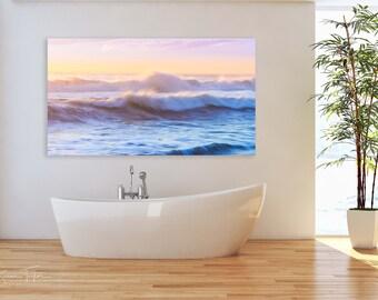 Ocean Photography, California Seascape Panorama, Dreamy Surf Photo, Half Moon Bay Print, Large Wave Home Decor, Pastel Nautical Bathroom Art