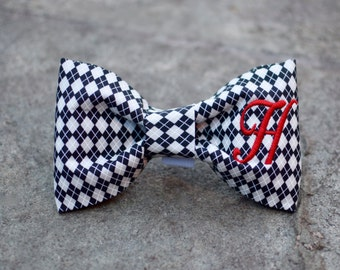 Monogram Dog Bow Tie Argyle | Personalized Bow Tie | Best Custom Puppy Gift by Three Spoiled Dogs