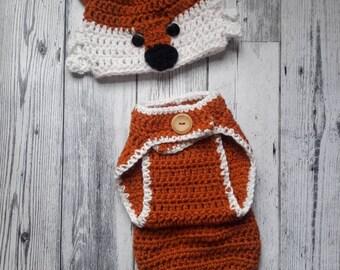 Crochet baby fox set, fox hat and diaper cover, boy or girl photo prop, newborn photo prop, baby shower gift, photo prop, newborn fox hat