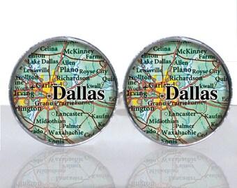 Dallas Texas Map Luck Round Glass Tile Cuff Links CIR175