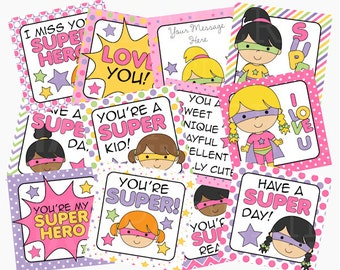 school lunch box notes printable digital - Super Hero Girls Lunch Box Notes Printable