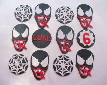 12 VENOM Fondant Cupcake Toppers Personalized