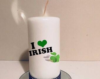 St Patrick decor! Irish decor! St Patrick gift!  St Patrick candle!