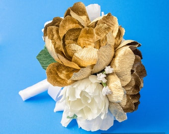 Handmade gold crepe paper  bouquet, paper flowers, wedding bouquet, bridesmaid bouquet,  decoration, Summer, Spring, bridal bouquet