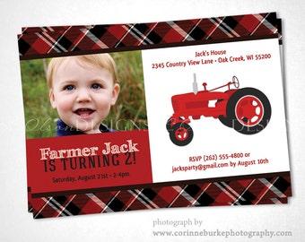 Red Tractor Farmer Birthday Invitation DIY printable