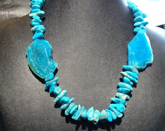 Vintage Turquoise and Blue Agate Necklace