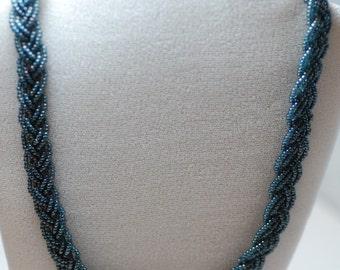 Blue-Gray Braid Necklace