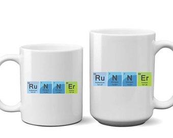 Marathon - Runners - Coffee Mug - Coffee Cup - Funny Mugs - Attitude Mugs - Motivational Mug - RUN - Science GEEK - Periodic Table Runner