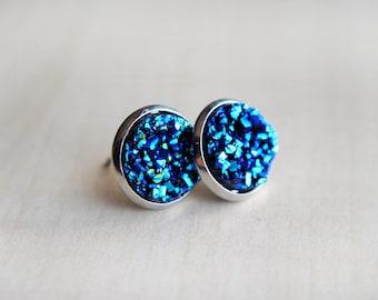 Blue Sparkle Earrings -- Faux Druzy Earrings -- Space Earrings -- Galaxy Jewelry -- Glitter Earrings - Sparkly Earrings -- Nerd Fashion