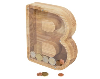 wooden coin bank etsy. Black Bedroom Furniture Sets. Home Design Ideas
