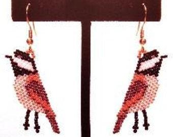 Chickadee Earrings - Brick Stitch Beading Pattern