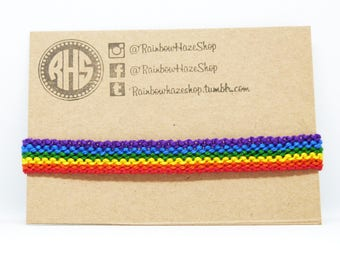 Pride Flag Gay Lesbian LGBTQ Rainbow Cuff Celebrate Love Festival Colourful Handmade Gift Stocking Filler Macrame Support Equality