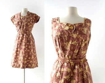 Vintage 1950s Dress | Yellow Rose Dress | 50s Dress with Jacket | S M