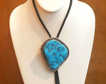 Vintage Native American Navajo Handmade Sterling Silver Large Turquoise Bolo Tie