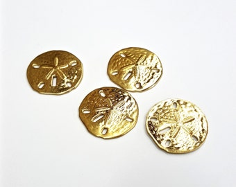 5 Pieces Gold Plated Brass Sand Dollar Findings, Vintage, 22mm