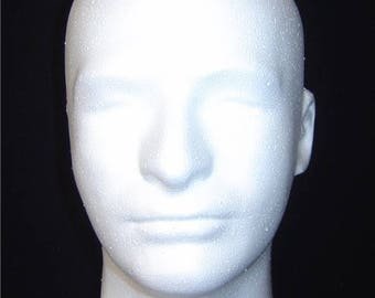 """TWO (2)  #6248X White 10.5""""H MALE Mannequin head forms by Polly Products-USA Quality"""