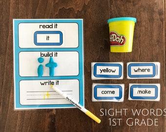 Sight Word Game, Flashcards, 1st Grade List, Playdoh mat, Early Reading, Word Tracing, Preschool, Kindergarten, Busy Bag, Montessori School