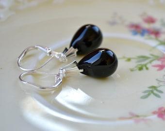 Black & Silver Earrings, Teardrop Earrings, Black Dangle Earrings, Silver Leverback Earrings, Black Earrings, Bead Earrings, Black Jewelry