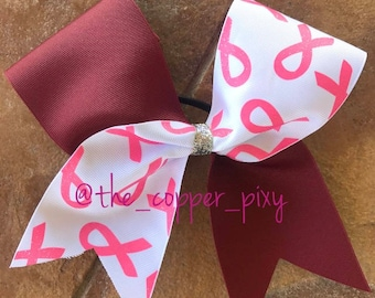 Pink awareness cheer bow with burgundy/maroon tic toc