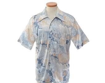 Vintage Mr. California Shirt 60s 1960s 70s 1970s Blue Abstract Short Sleeve Rat Pack Rockabilly Hipster Retro Disco Shirt / mens L