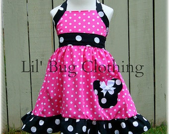 Minnie Mouse Girl Dress, Hot Pink Minnie Mouse Dress, Minnie Mouse Birthday Party Outfit, Minnie Mouse Birthday Party Dress, Minnie Clothes